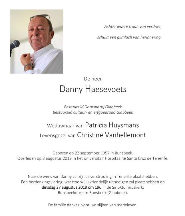 Rouwbrief Danny Haesevoets